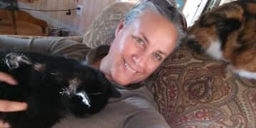Not shown: 3rd cat in my lap :)  These kitty cats were quirky but well behaved snugglers and a lot of fun too!  (Repeat house sit near Blue Ridge Parkway, southern VA)