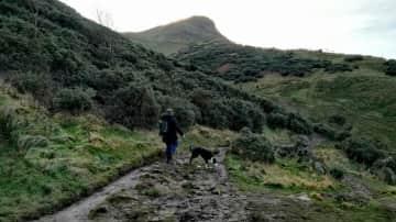 Heading up Arthurs Seat, Edinburgh with Oscar