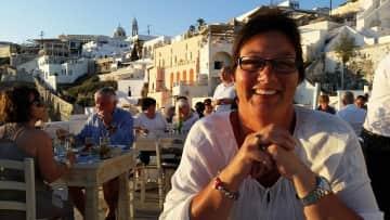 Debra in Santorini.