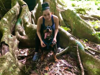 My sister Celinne and our dog Koda. She loves going on walks and being the spoilt baby of the family