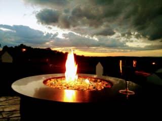 Firepit at sunset