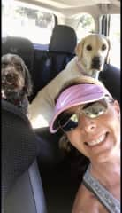 ...After a hike and creek swim together, Cricket & Hanna are ready to head home for dinner!  July 2021