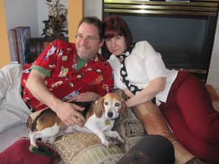 With our sweet one, Ivy, before she passed.  Yeah, we loved her much and miss the walks and cuddles, and just the snoring in the background.