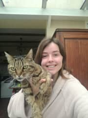 Montaine and her old lady cat Lola