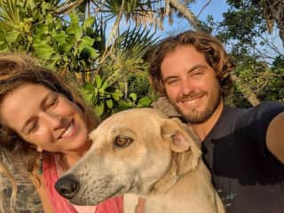 Us with Mr Digglesby our dog in Lamu