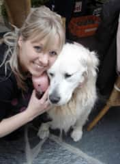 Yvonne & Guus, the golden retriever we had for 12 years.