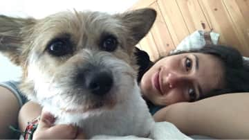 Sybil and I after an afternoon nap. Pet sitting at my place in China, during Sybil's Mum's work break