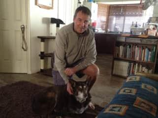 Gerry with Kody, our Australian, canine friend!