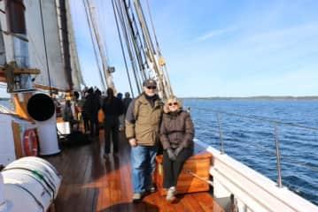 Jan and Allan on the Bluenose II in Lunenburg, Nova Scotia