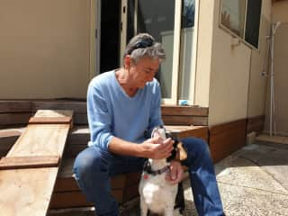 Smudge the doggy became very attached to Mark at our Edithvale housesit October 2019