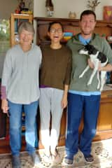 Ray & Lily with Jenny and dog Lucy at our first sit in Raumati, New Zealand.