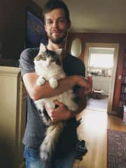 My partner Andy and our kitty are just too cute.