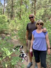 Near our new home in Durango with our pup Lucy and a friend