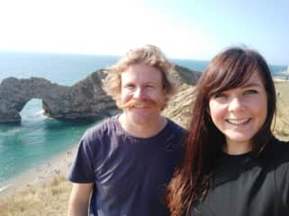 Locuming around England has allowed us to work and travel locally. This was at Durdle Door in England.