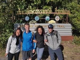 Hiking Doi Poui, the highest point in Thailand.