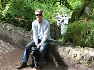 David with Gus, out on a walk around Pitlochry, Scotland