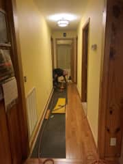 Bill laying flooring.  We are always doing some repair or home improvement.
