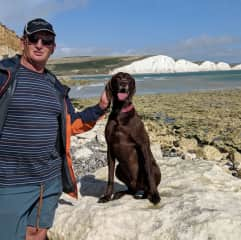 Greg and Max on a walk by Seven Sisters