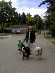 with my granddaughter walking our dogs