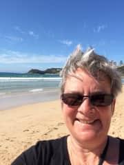 This is me on Bondi Beach.  ( Selfies are hard!!)
