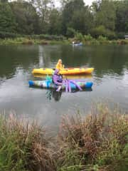 Boat parade at our lake. Octopus's Garden and Yellow Submarine kayaks