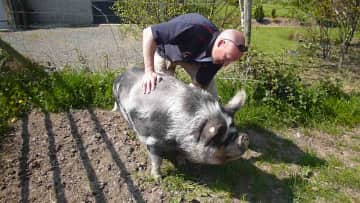 James with a Kevin the pig