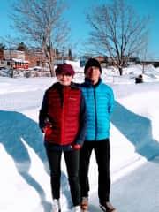 Gary and Bonita enjoying winter in Magog, Quebec.