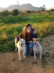 Cristina and her dogs at home in Spain