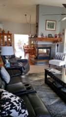Living area looking toward patio door