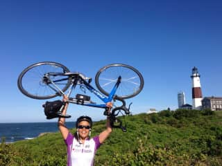 I'm a frequent cyclist, and every year I complete a 100-mile bike ride for charity in one day for the Leukemia & Lymphoma Society. This is me at the Montauk lighthouse - the end point of a 100-mile ride from NYC!