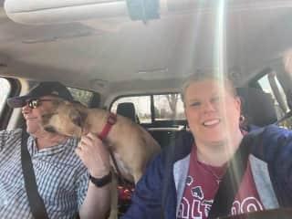 Kona loves to go for rides
