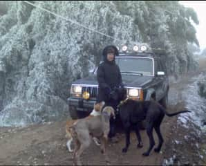 Some years ago with our pack. And it snowed!