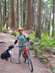 Mountainbiking with Sky dog in Bellingham, Washington