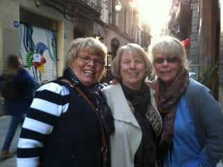 Carol with friends in Barcelona