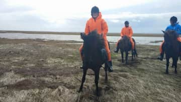 This was one of my favorite experiences ever: riding in Iceland all day on black sand beaches, 'tolting' and galloping through fields, and riding through freezing water! (hence the orange jumpsuits!)