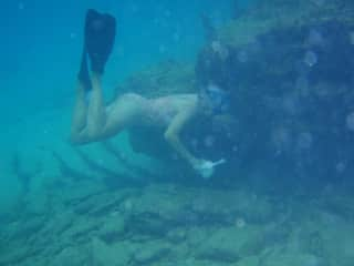 Picking up trash in Bimini.   We were snorkeling for fun, but seeing trash was too hard to ignore.