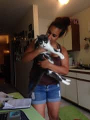 With Sherrie, my mom's cat