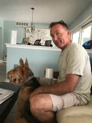 Getting ready for a walk with 5 yr old Airedale Luna