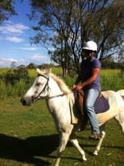 Riding Duchess on the farm