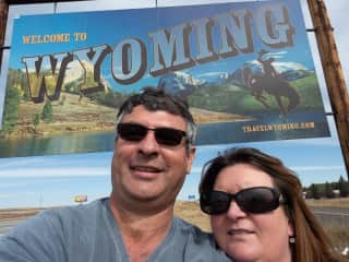 Andrew and Carolyn entering Wyoming