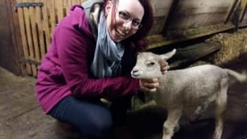 Marina with a cute lamb