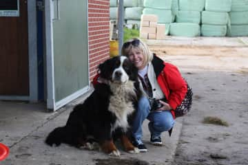 Mary & a new friend in the Netherlands.