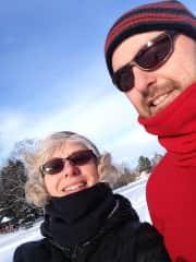 Elaine and husband Brian on a snow shoe hike