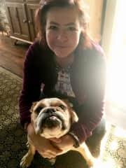 Jane with her bulldog, Lola