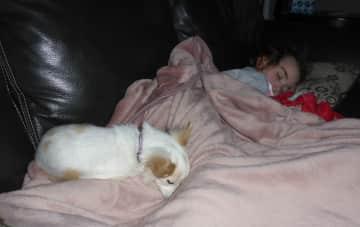 Lara taking a nap with Lea