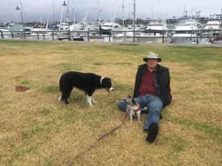 Scott w/Fionna and Cheech on a pet sit