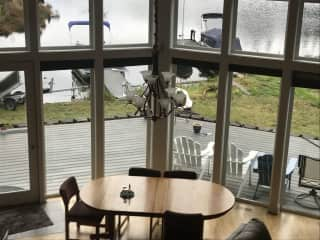 dining area looking at the lake