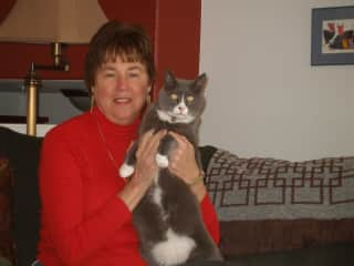 This is me with my kitty Darwin!