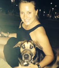 Stella and I watching the moon rise in Cairns, Australia