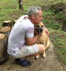 Todd with our darling old dog, Lola